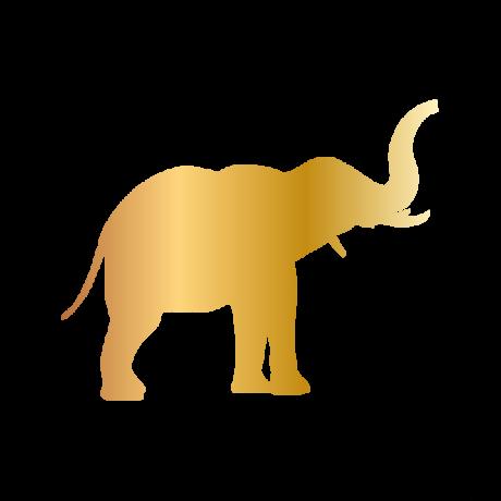 Ormányos elefánt autó matrica arany #613
