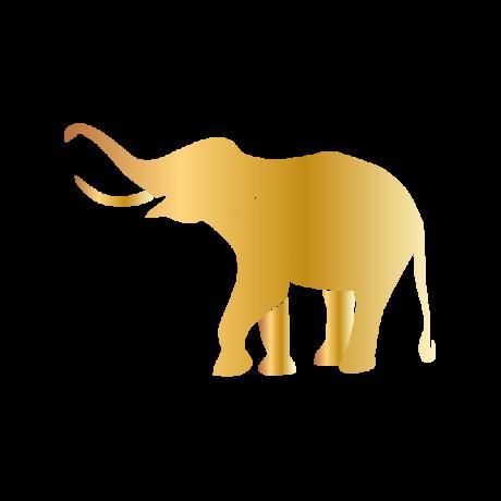 Boldog elefánt autó matrica arany #618