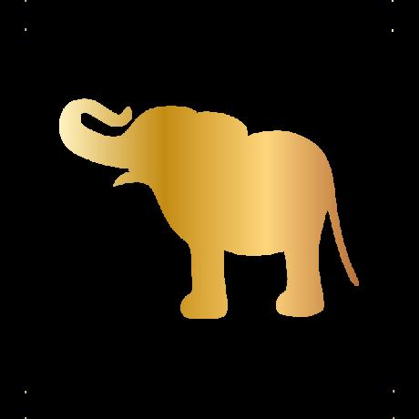 Vidám elefánt autó matrica arany #623