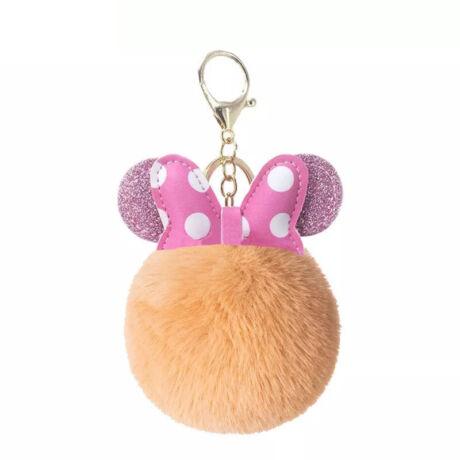 Minnie egér alakú pompom kulcstartó narancssárga