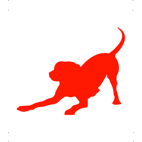 Játékos kutya matrica piros #190