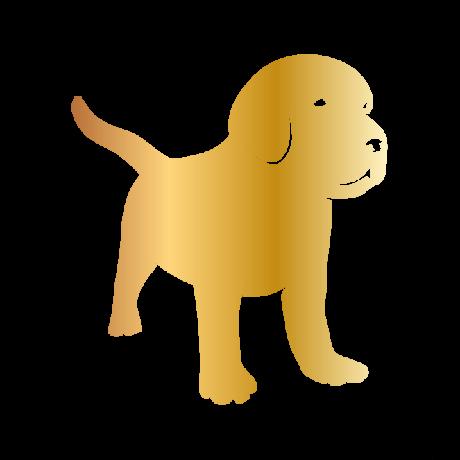 Kistestű kutya autó matrica arany #224