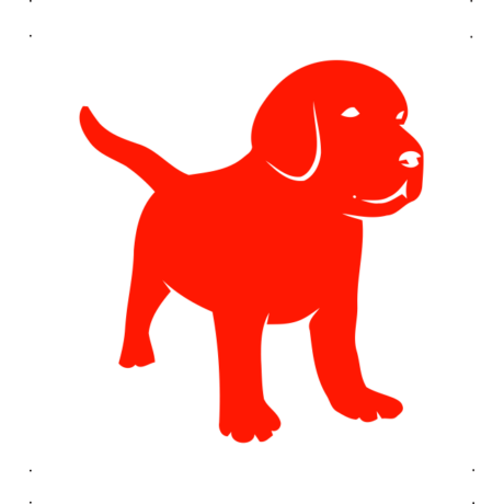 Kistestű kutya autó matrica piros #225