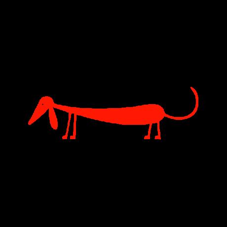 Tacskó figura autó matrica piros #255