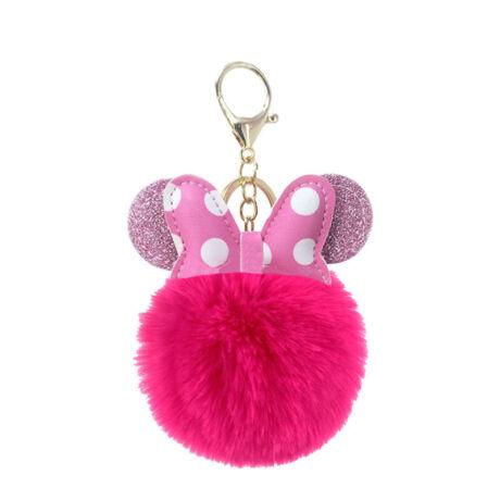 Minnie egér alakú pompom kulcstartó pink