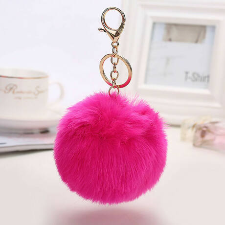 Pompom kulcstartóra, táskára akasztható szőrme dísz  hot pink