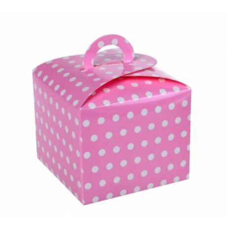 Rózsaszín pöttyös ajándék doboz 10*10 cm