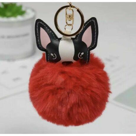 Francia bulldog alakú pompom kulcstartó piros