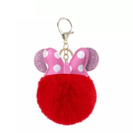 Minnie egér alakú pompom kulcstartó piros