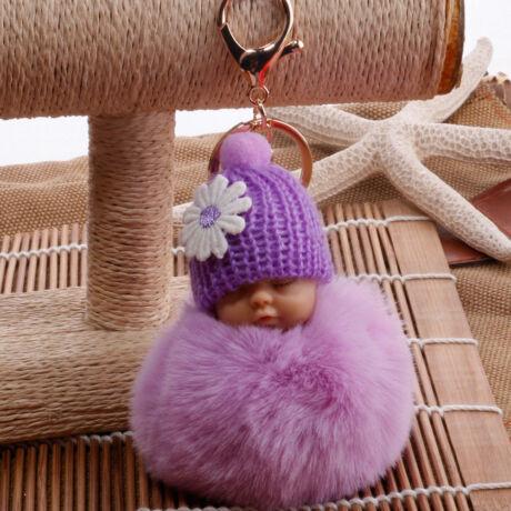 Alvó babásalakú pompom kulcstartó lila