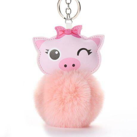 Szőrmés, malac alakú pompom kulcstartó pink
