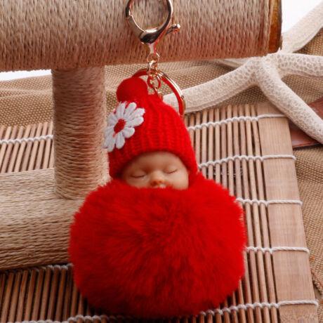 Alvó babás alakú pompom kulcstartó piros