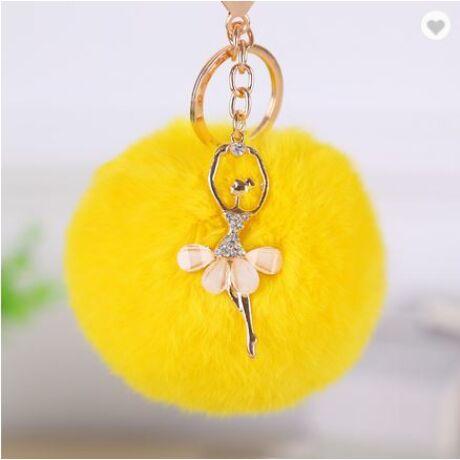 Pompom kulcstartó, strassz balerina díszítéssel citromsárga