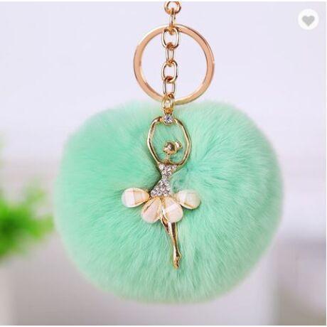 Pompom kulcstartó, strassz balerina díszítéssel zöld