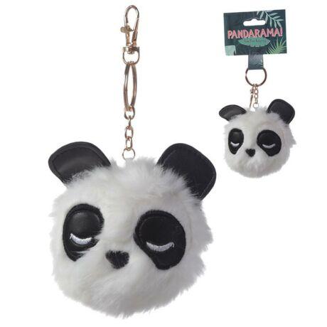 Panda alakú pompom kulcstartó