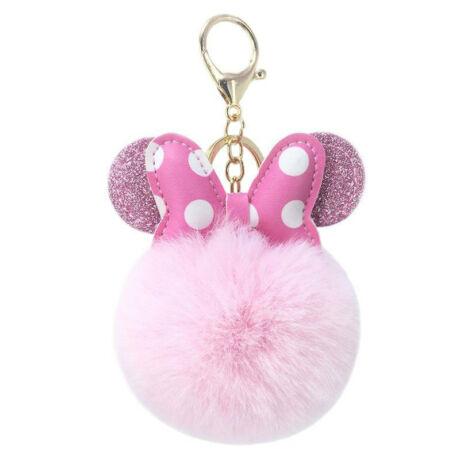 Minnie egér alakú pompom kulcstartó rózsaszín