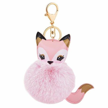Szőrmés, róka alakú pompom kulcstartó rózsaszín