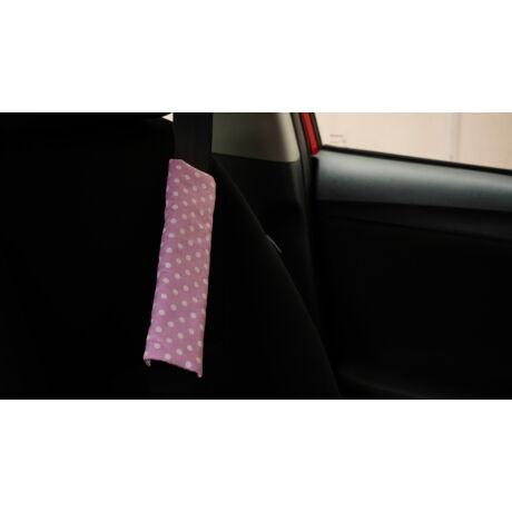 Rózsaszín alapon fehér pöttyös biztonsági öv párna