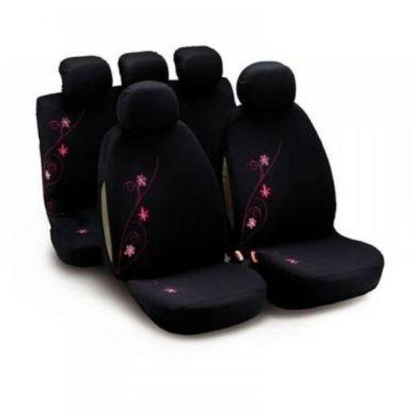 Rózsaszín virág mintás, mosható csajos üléshuzat, ami az egész autódat feldobja. 9 részes szett, a fejtámlákra is tartalmaz huzatot.