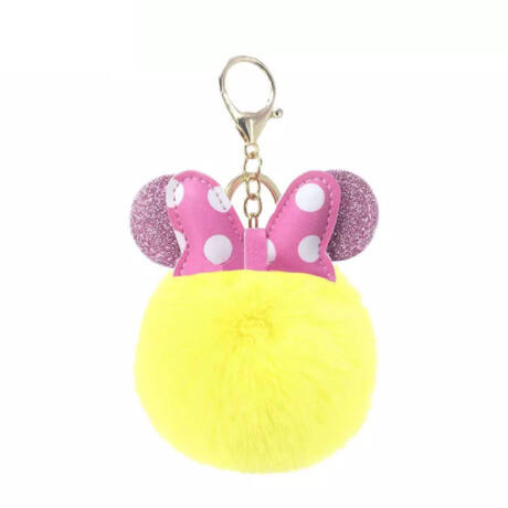 Minnie egér alakú pompom kulcstartó citromsárga