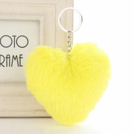 Pompom kulcstartóra, táskára akasztható szív alakú szőrme dísz citromsárga