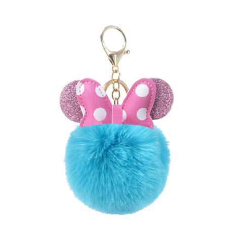 Minnie egér alakú pompom kulcstartó kék