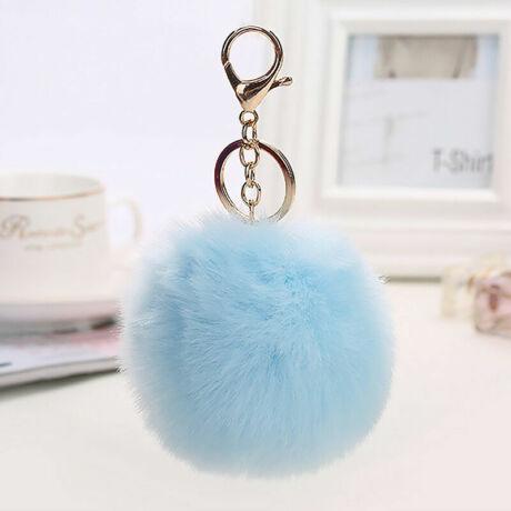 Pompom kulcstartóra, táskára akasztható szőrme dísz  világos kék