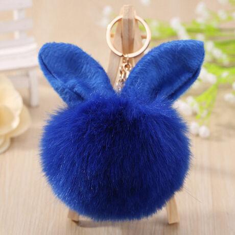Pompom kulcstartóra, táskára akasztható nyuszi füles szőrme dísz sötét kék