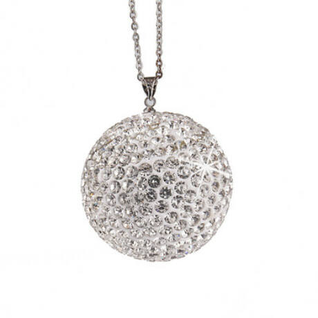 Strassz dekor gömb visszapillantó tükörre, ezüst