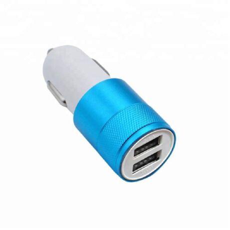 Szivargyújtós mobil töltő 2 USB csatlakozóval kék