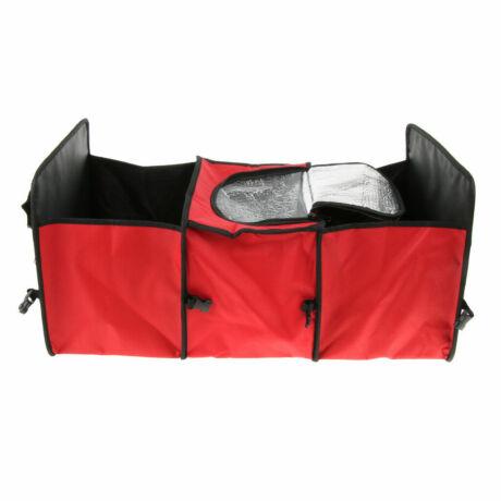 Csomagtér tároló, 3 rekeszes, középen termó rekesszel, piros