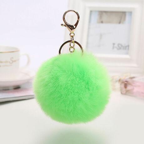 Pompom kulcstartóra, táskára akasztható szőrme dísz  zöld