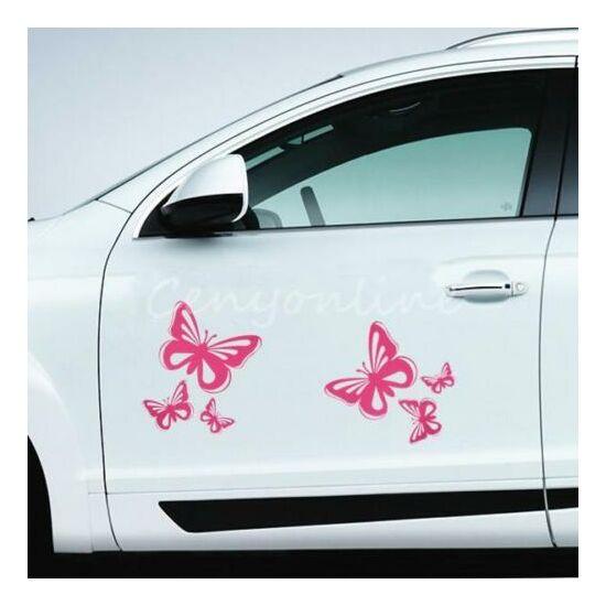 Rózsaszín pillangó matrica, 3db