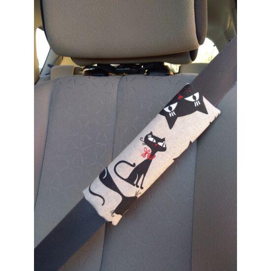 Fekete macskás biztonsági öv párna
