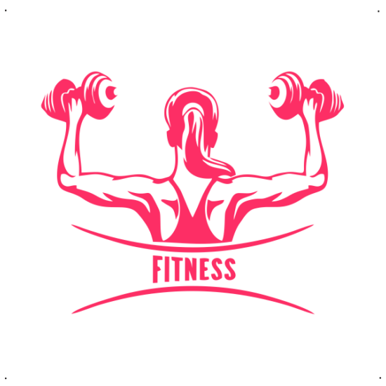 Fitness feliratos, női súlyzós autó matrica, pink