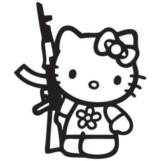 Hello Kitty AK47-essel matrica, FEKETE