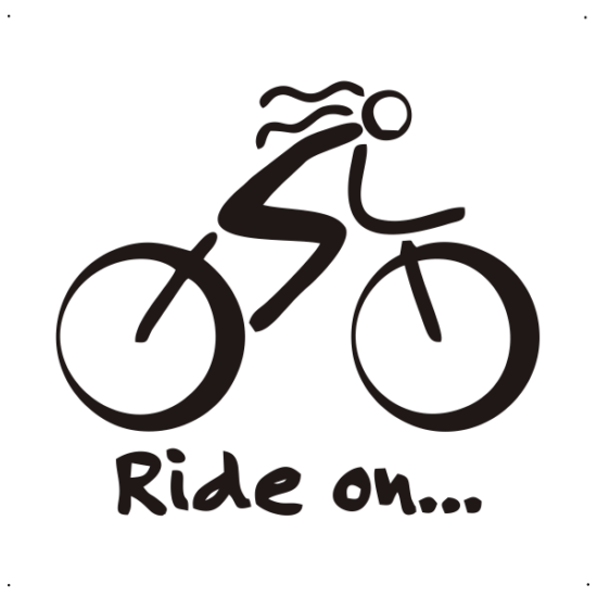 Ride on feliratos, női kerékpáros autó matrica, fekete