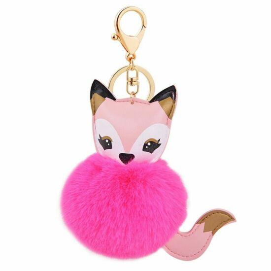Szőrmés, róka alakú pompom kulcstartó HOT PINK