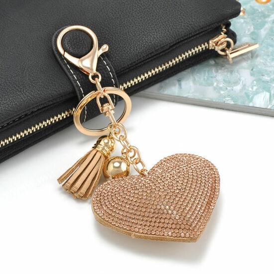 Szív alakú kulcstartó strassz díszítéssel GOLD