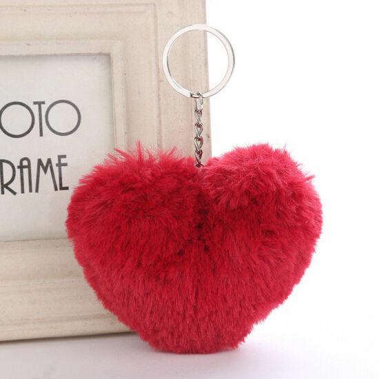 Szőrmés, szív alakú pompom kulcstartó PIROS